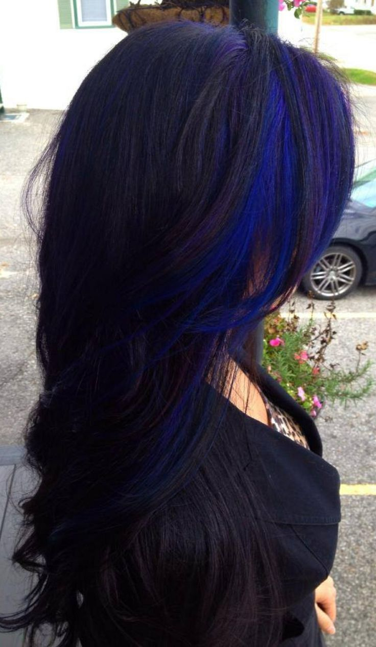 Blue Highlighted Long Black Wavy Hairstyle