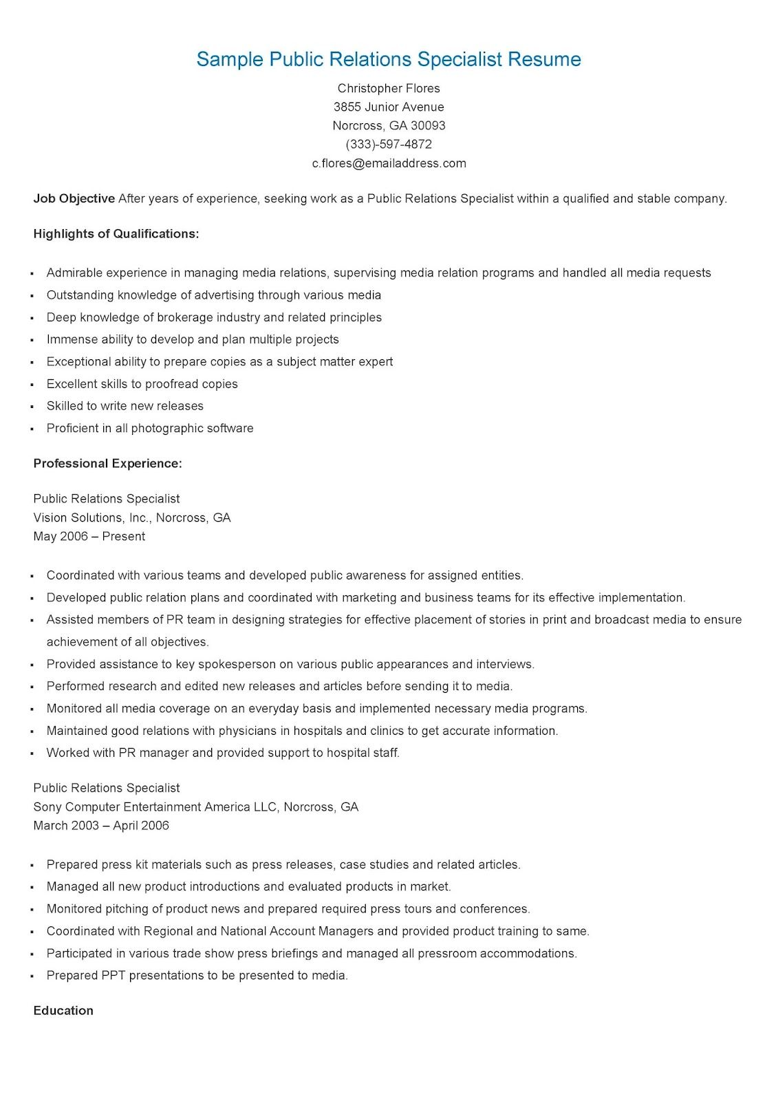 Sample Public Relations Specialist Resume  Resame