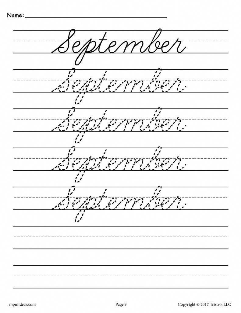 12 Free Months Of The Year Cursive Handwriting Worksheets In 2020 Cursive Handwriting Worksheets Cursive Handwriting Handwriting Analysis