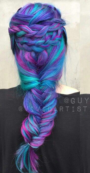 Purple Blue Mixed Braided Dyed Hair Color Inspiration Guy Tang Vividartistichairdesign Hair Inspiration Color Hair Dye Colors Cool Hair Color