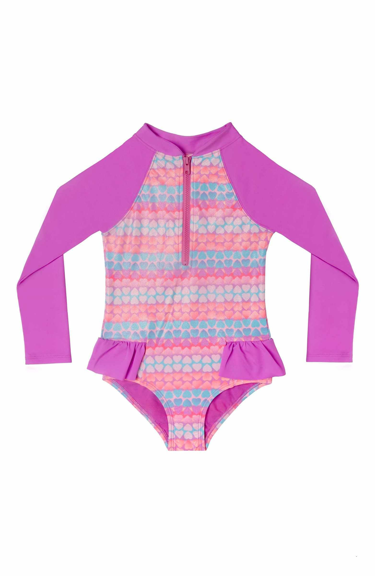3e058411b8 Hula Star Hearts Galore One-Piece Rashguard Swimsuit (Toddler Girls & Little  Girls)