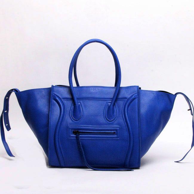 Celine Handbags Boston Croco Leather Blue Ingenious On Hot