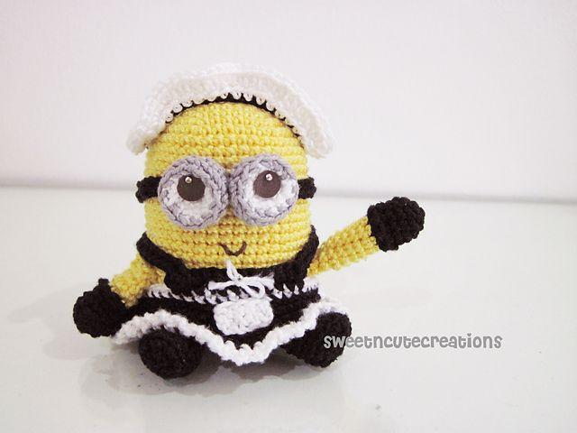 Patrón de amigurumi de minion vestido de criada francesa (Amo el ...
