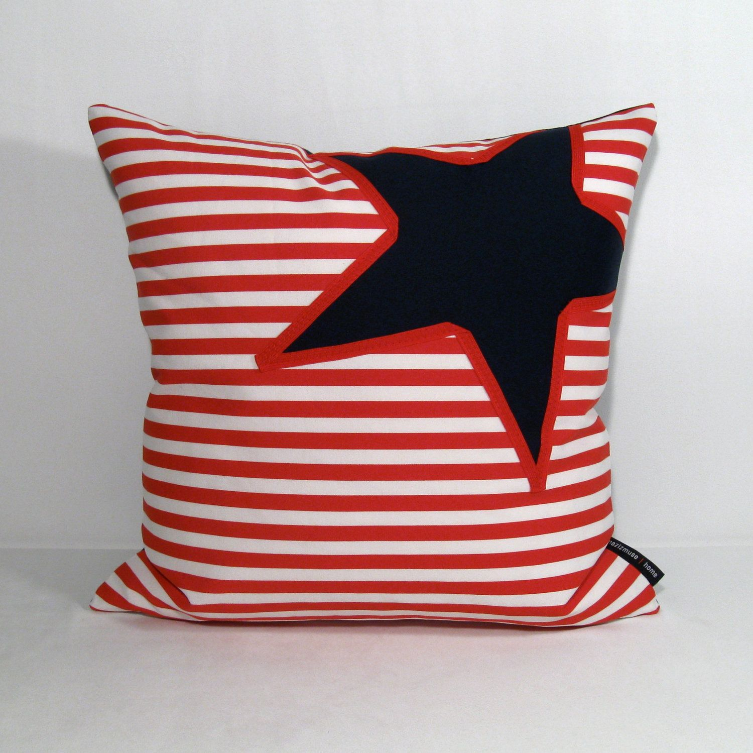 Nautical Decorative Pillow Covers : Nautical Pillow Cover - Red White Blue - Decorative Cushion - Navy Star Stripe 16 inch. $45.00 ...