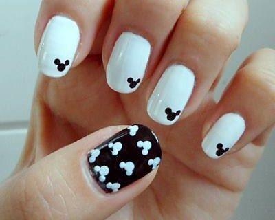 #nail #polish #white #black #disney #fun