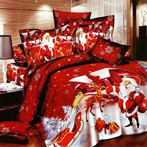 3D Oil Red Christmas Kids Duvet Cover,(1PC Duvet Cover,1PC Bed Sheet