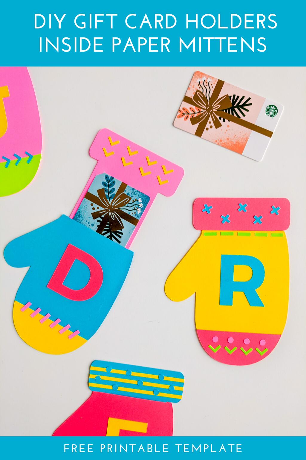 Diy Christmas Gift Card Holder Printable Mittens Template Gift Card Holder Template Christmas Gift Card Holders Gift Card Holder