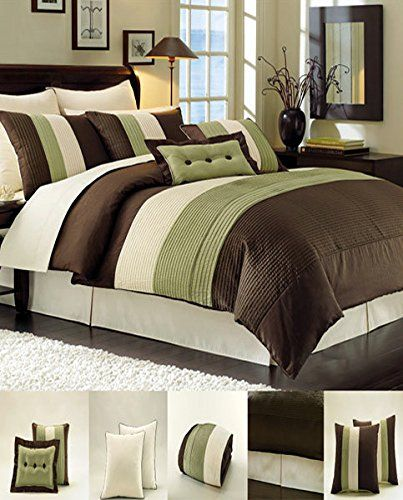 Outrageous Green And Brown Bedroom: Amazon.com: 8 Piece Luxury Bedding Regatta Comforter Set