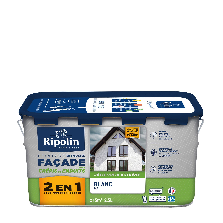 Peinture Facade Surface Structuree Xpro3 Ripolin Blanc 2 5 L Peinture Facade Peinture Et Blanc