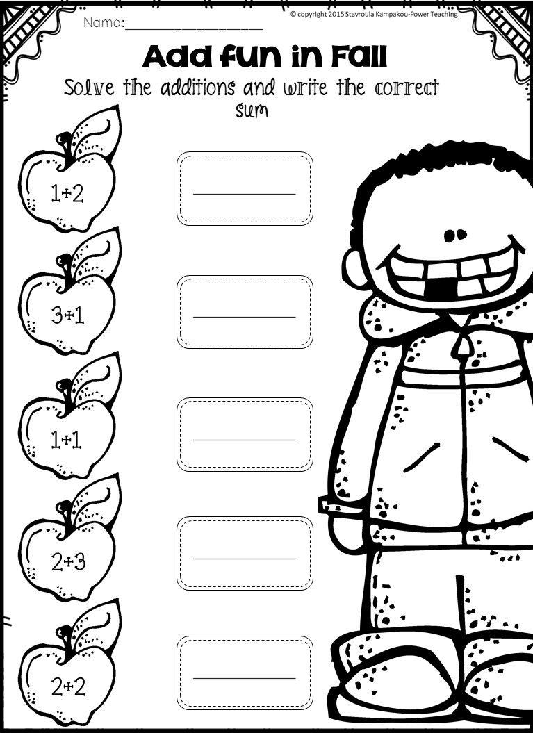 Fall Math Centers {Kindergarten NO PREP} | Maths, Worksheets and ...