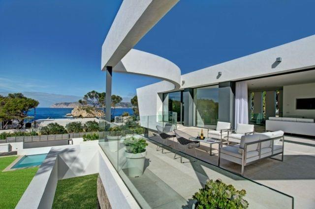 Glas Geländer Terrasse Beton Bodenbelag Metall Sofa