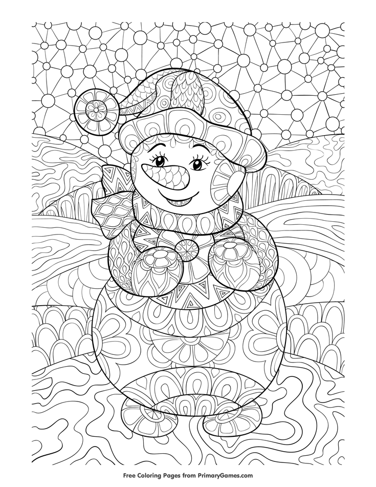 Winter Coloring Page Zentangle Snowman Free printable Winter