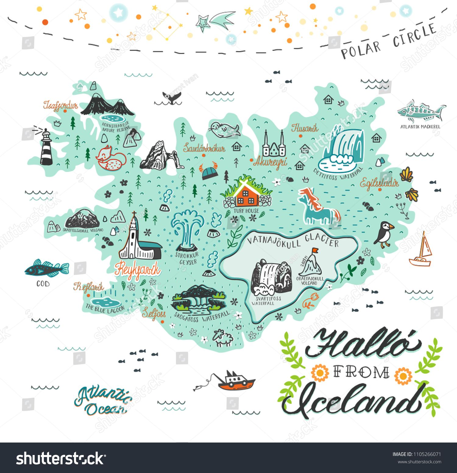 Hand Drawn Illustration Of Iceland Map With Tourist Attractions Travel Concept Hallo Icelandic Languag Iceland Map Iceland Travel Iceland Travel Photography