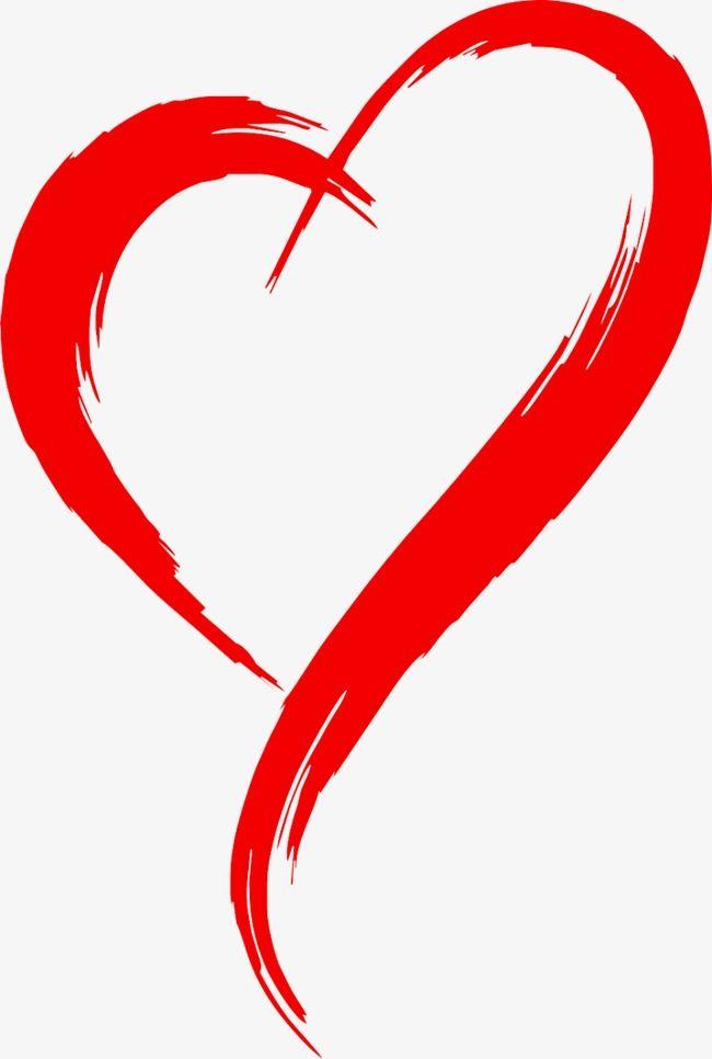 Red Heart Outline Brush Effect In 2020 Heart Clip Art Heart