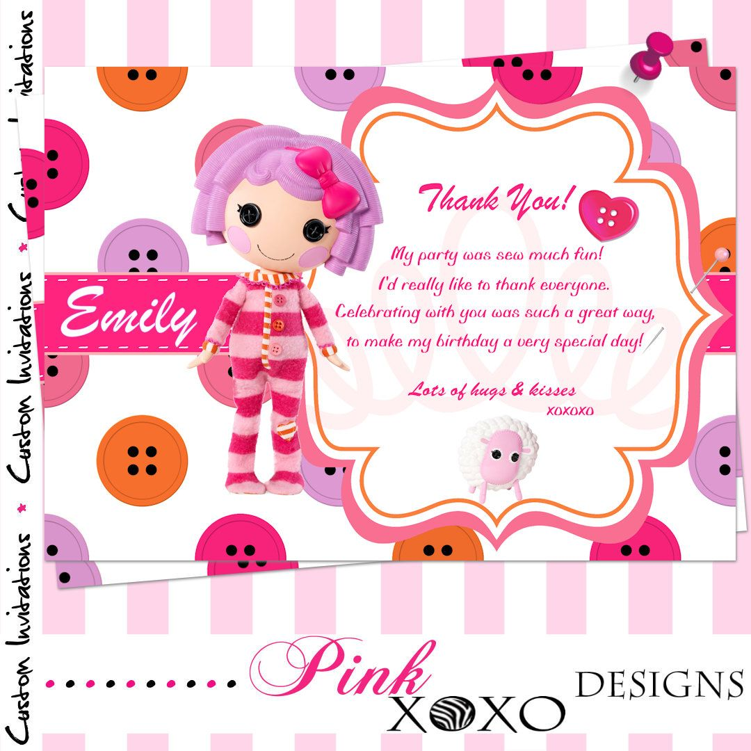 PRINTABLE Digital Thank You Card - LALALOOPSY (Pillow) Personalized ...