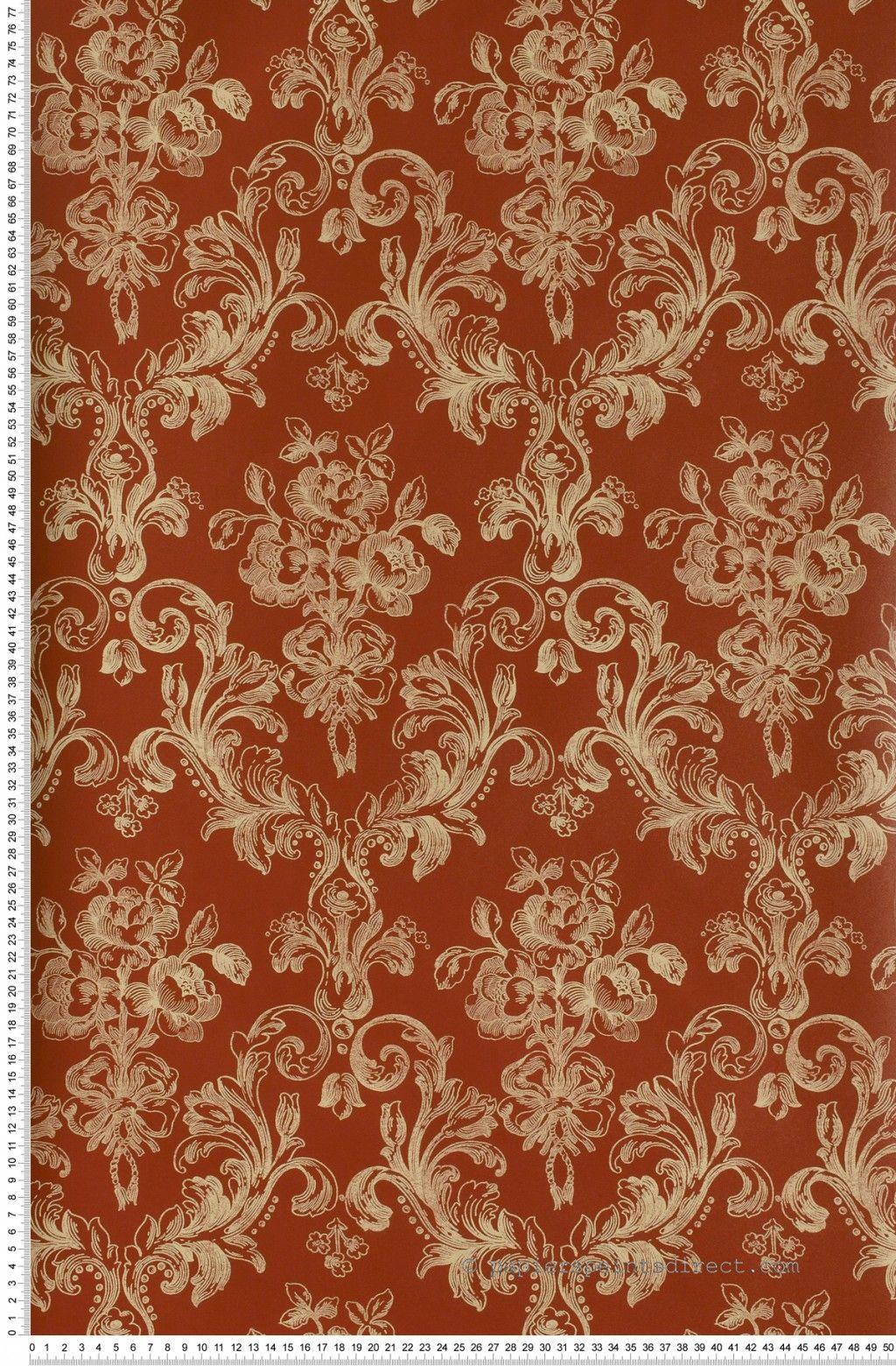 m daillon vintage floral bordeaux papier peint lut ce. Black Bedroom Furniture Sets. Home Design Ideas