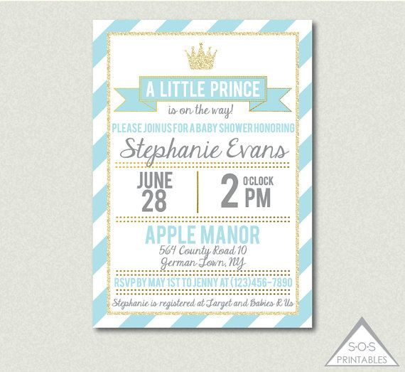 Blue And Gold Prince Baby Shower Invitation A Little Prince Is On