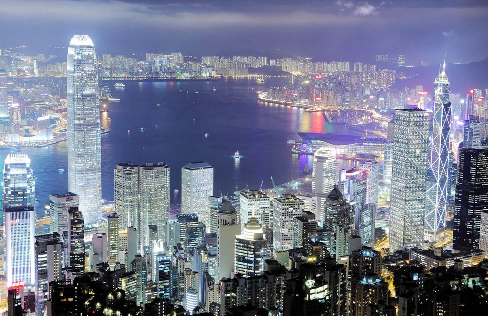 Hong Kong Lights Wallpaper Mural Mural wallpaper, View