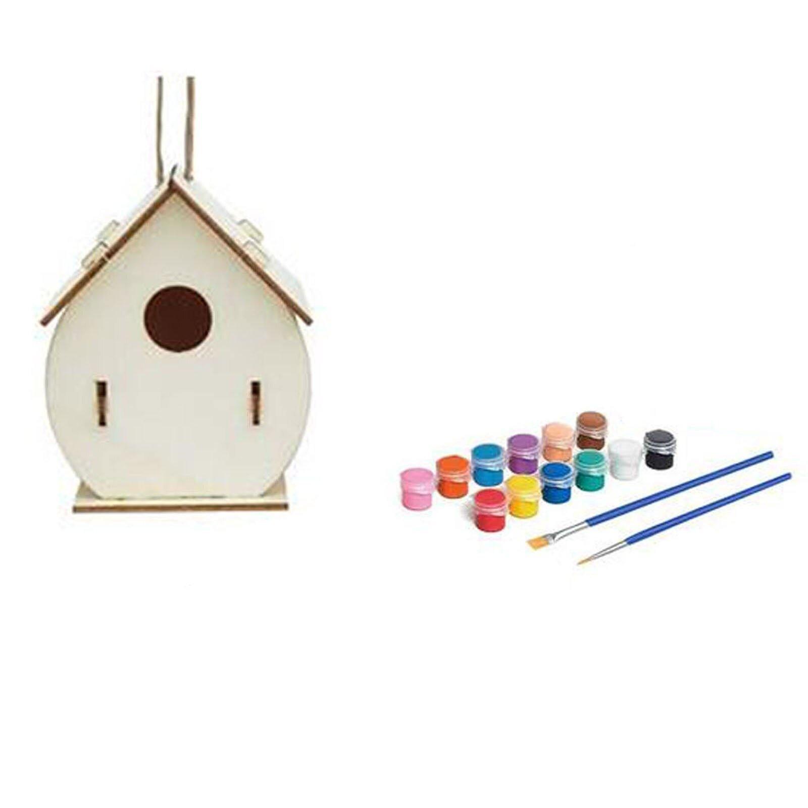 Photo of Creative Wooden Home Decoration Diy Hand Painted Crafts Graffiti Bird House Set 30ml Bird House Diy Home Garden Pet Supplier – H / France