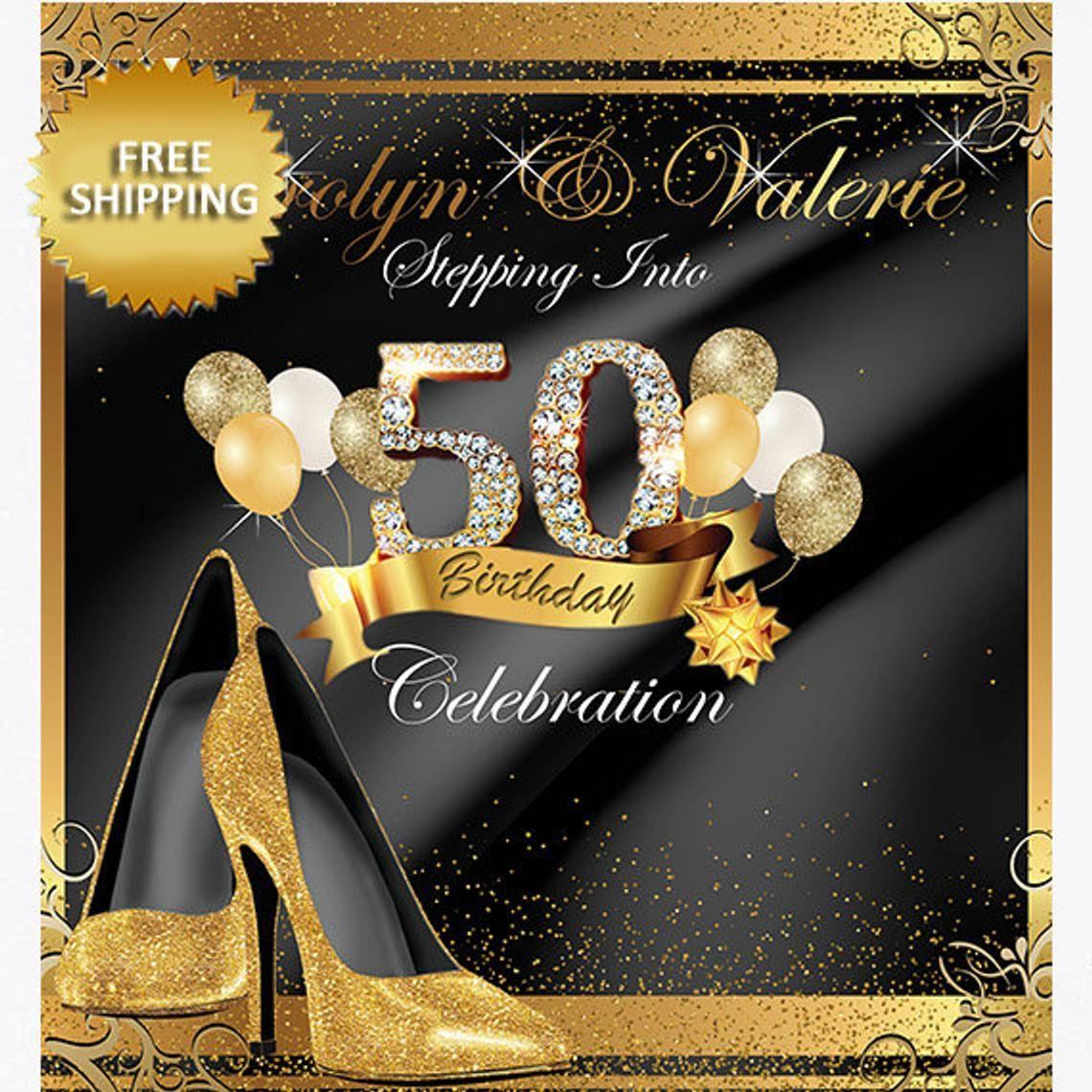 50 and Fabulous 50th Birthday Decoration 50th Birthday Banner 50 Birthday Fifty and Fabulous Party Happy Birthday 50th Birthday