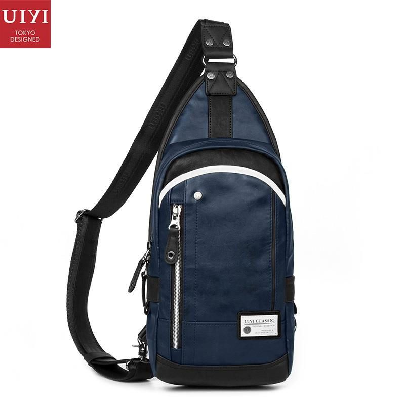 bf7a3427b1 UIYI Fashion Brand Handbag Men PU Leather Chest Pack Bag Crossbody Shoulder  Sling Bags Men Blue Rucksacks For Teenagers 150095