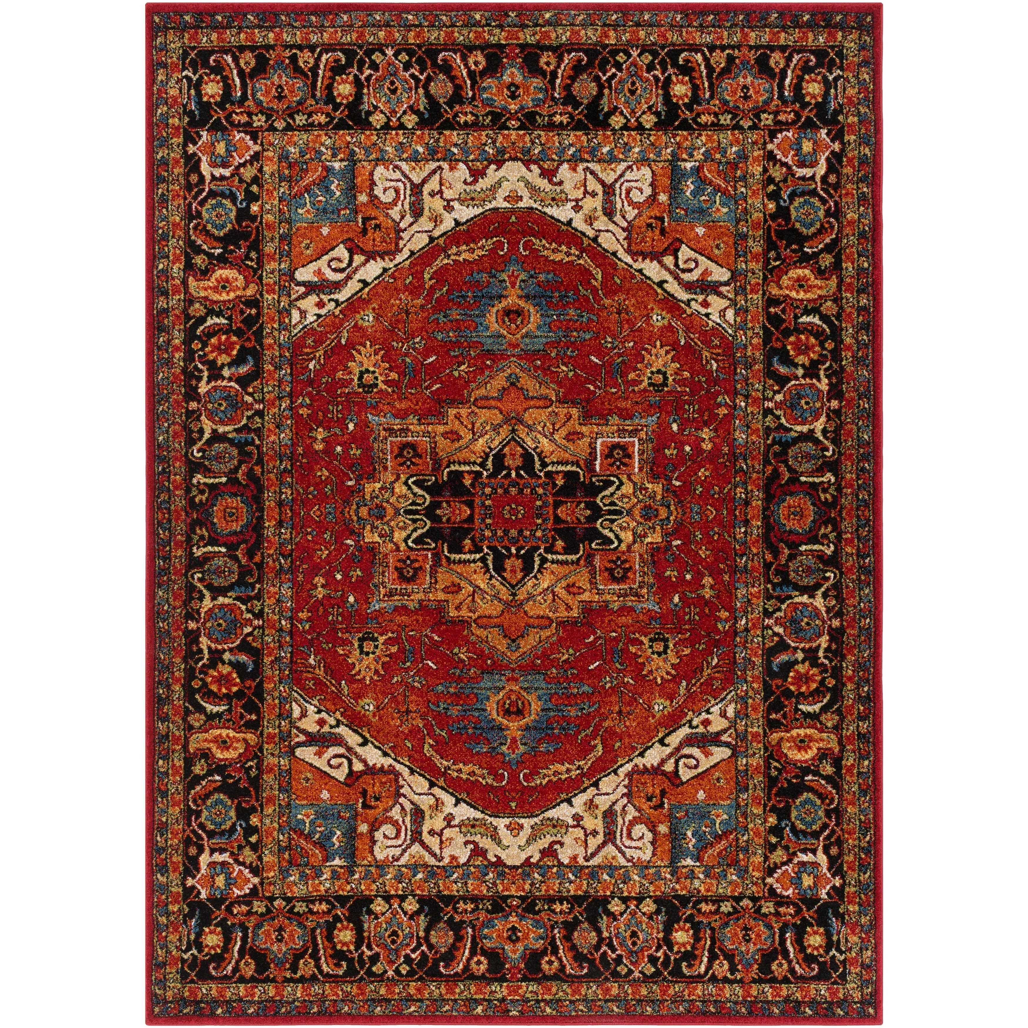 Anna Red & Dark Blue Updated Traditional Rug (5'3 X 7'3