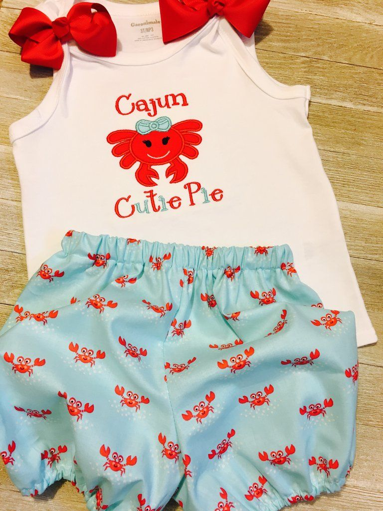 f452ab542f80 Cajun Cutie Pie Girl Crab Outfit