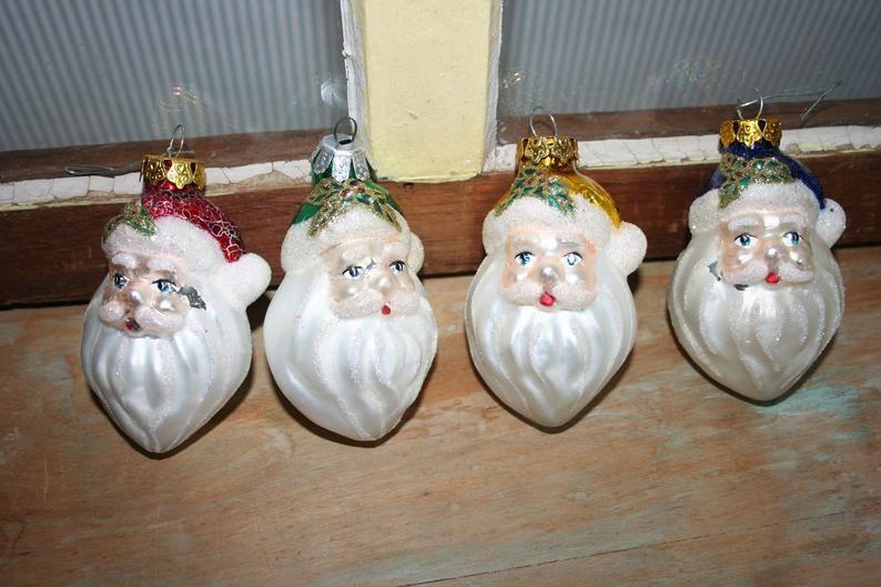 Vintage Santa Christmas Ornaments Retro Glass Santa Head Etsy