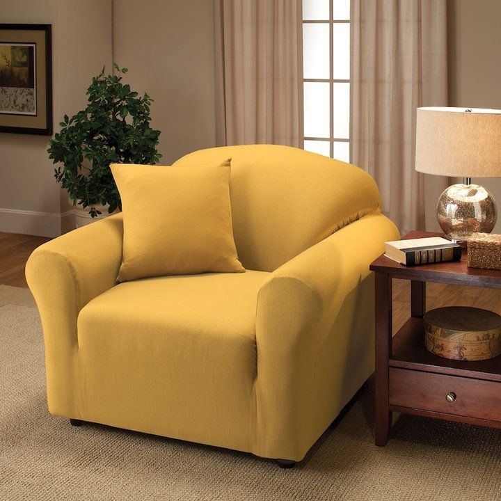 Jersey Stretch Chair Slipcover With Pillow Yellow Slipcovers Pillows And Products