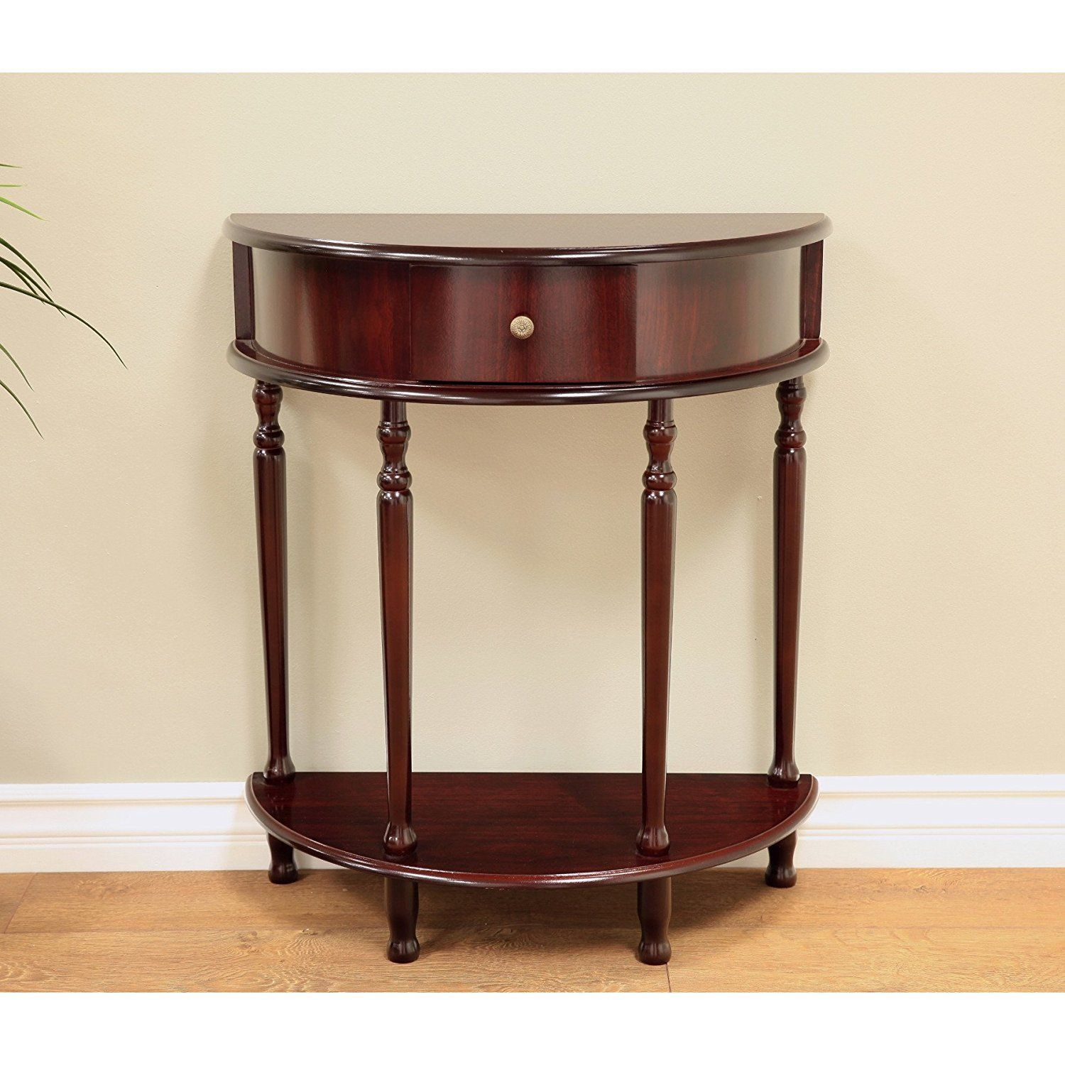 Beavin Console Table Cherry Wood Crafted Half Moon Shaped One Ious Central Drawer And Exterior Shelf Fit For Foyer Or The