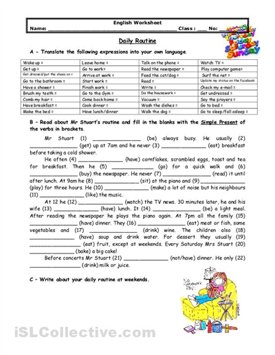 adult esl worksheets | Adults\' daily routine | ESL - Miscellaneous ...
