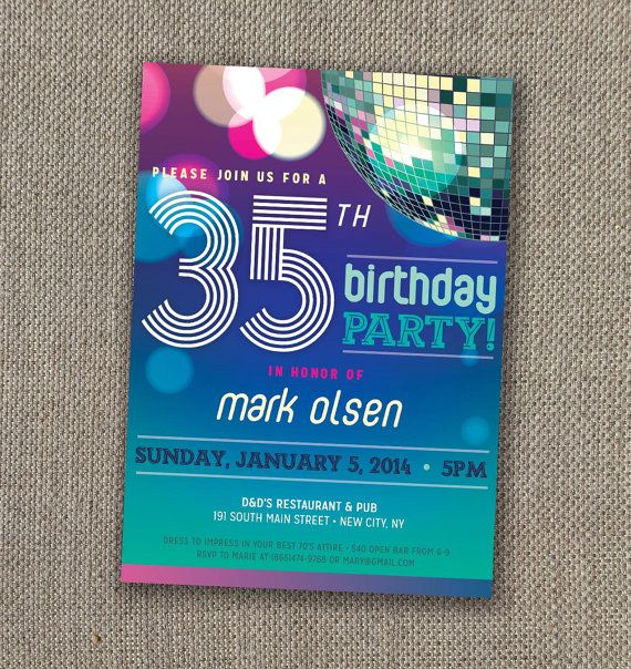 Disco Birthday Invitation Digital file Discos Birthdays and