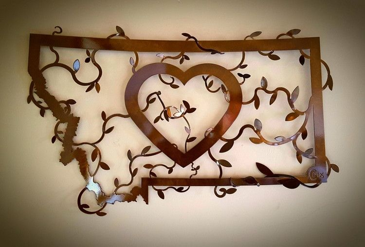 Heart In Montana Bronze Wall Decor Rustic Wall Sign Metal Wall Art Metal Art