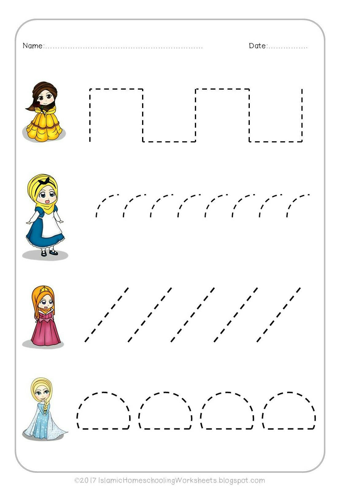 Free Prewriting Practice In Disney Princess Preschool Pack Islamic Version