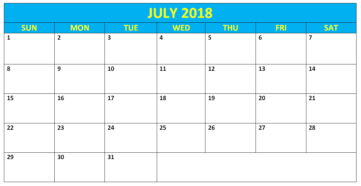 July 2018 Word Calendar Template 2018 Calendar Templates