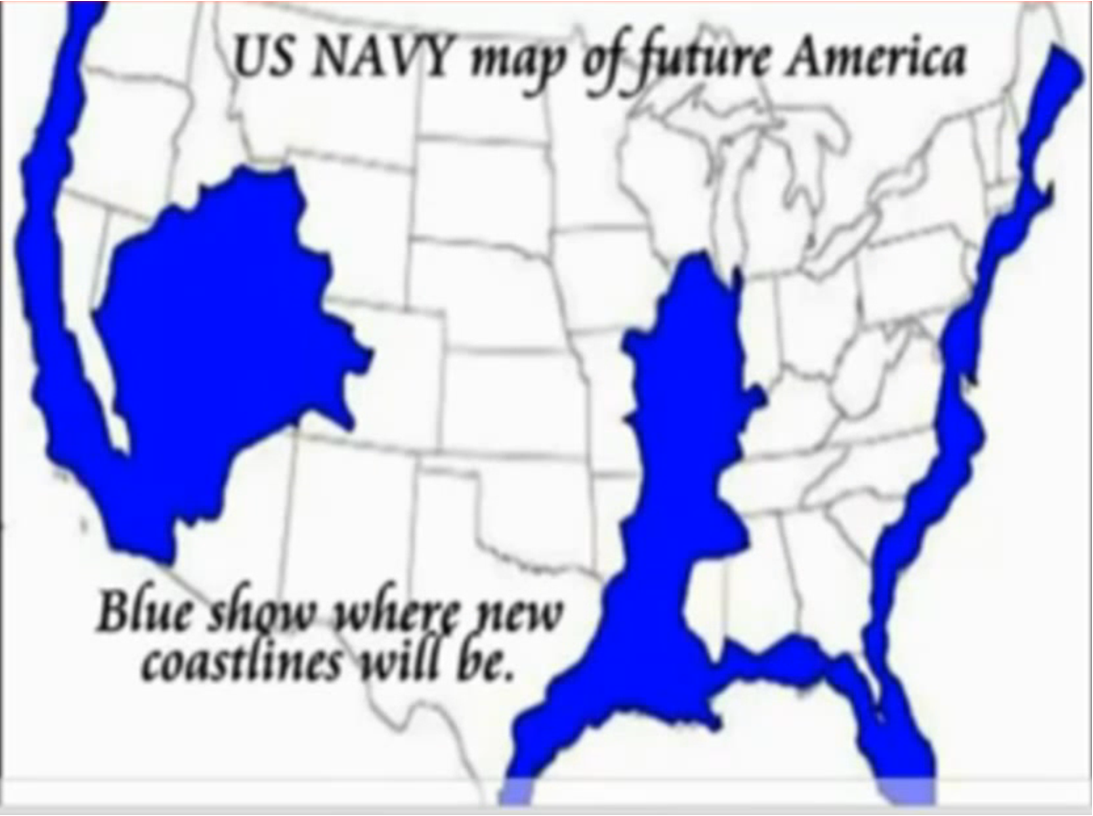 US Navy Map of Future America | mother earth | Flood map, United