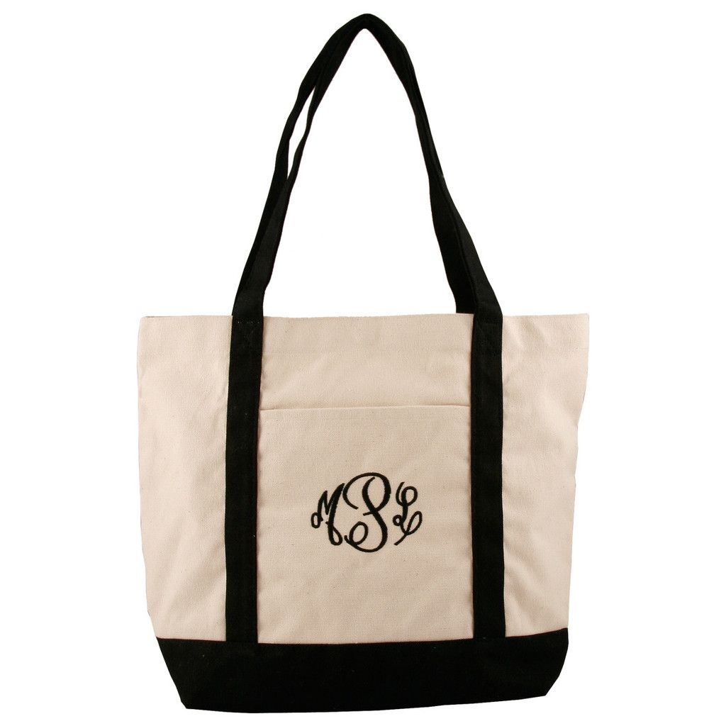 fe386c739 Personalized or Monogrammed Canvas Tote Bag - Black Trim This monogrammed  tote bag has a convenient front pocket and looks adorable with its black  trim and ...