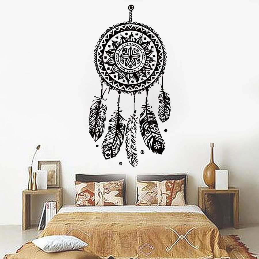large wall stickers for living room india decor with brown leather sofa dreamcatcher sticker vinyl home decals feathers night symbol indian bedroom livingroom art design j698