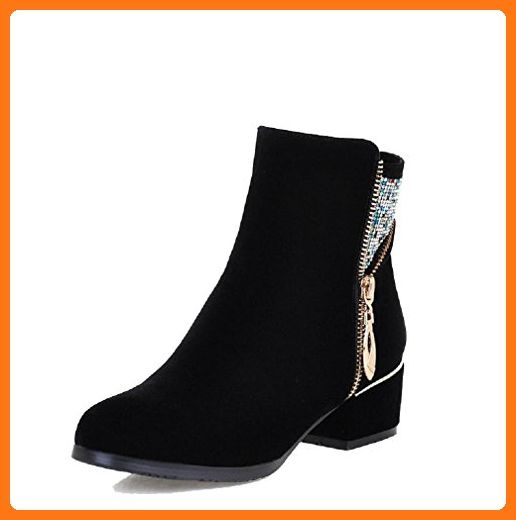 Women's Solid Kitten-Heels Round Closed Toe Imitated Suede Zipper Boots