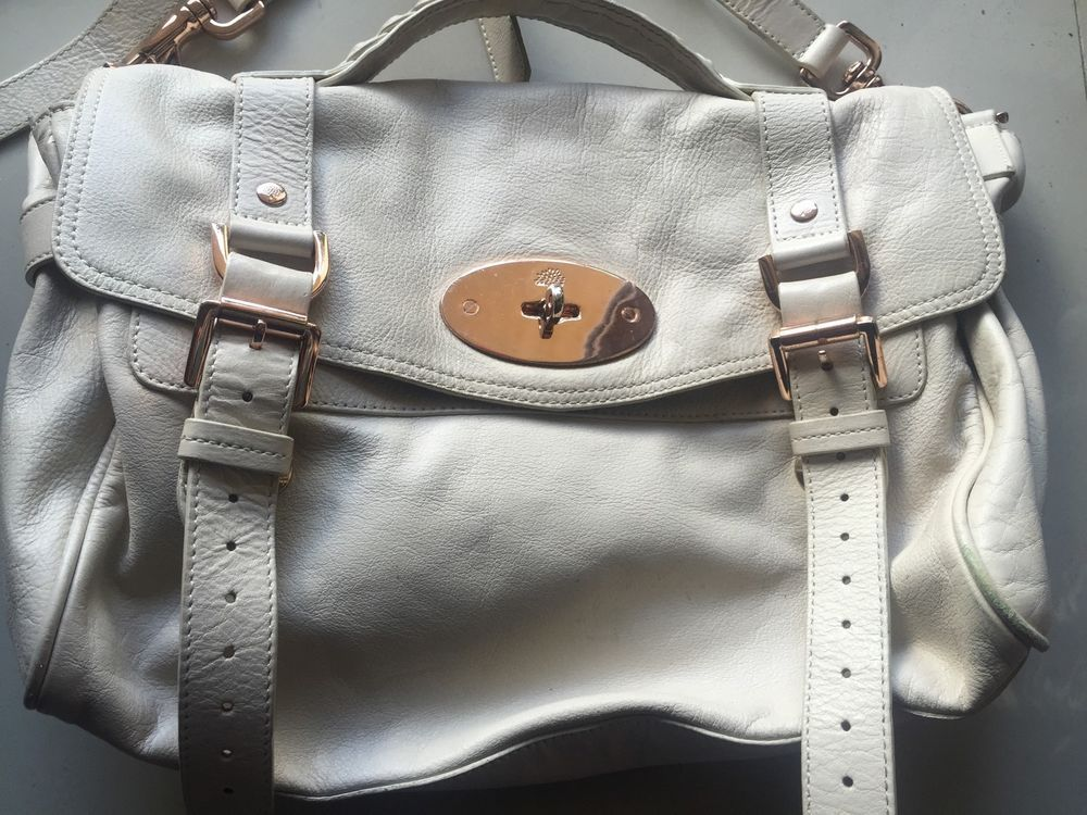 284b828fdd Mulberry Alexa Leather Satchel Bag Off White Purse Handbag Vintage Handbag