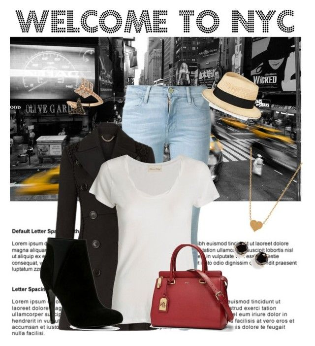 """""""Welcome To New York City"""" by beatles5ever ❤ liked on Polyvore featuring Frame Denim, Burberry, American Vintage, Lauren Ralph Lauren, ALDO, Minnie Grace, Kate Spade, Bee Goddess and Eugenia Kim"""