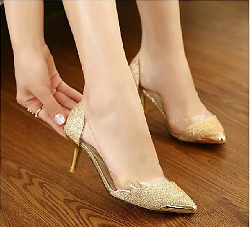 zapatos de las mujeres ocasionales en la venta a precios razonables, Marca  transparente punta estrecha inferiores rojos de los altos talones Mujer  mujeres ...