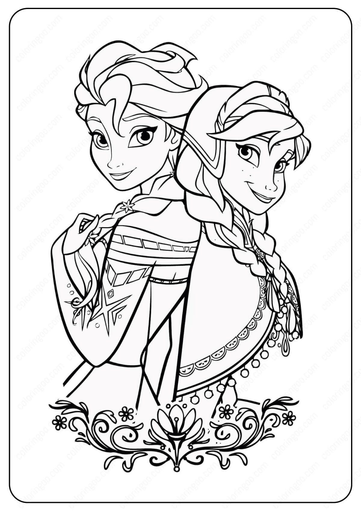 Free Printable Frozen Anna Elsa Coloring Pages In 2020 Disney Princess Coloring Pages Elsa Coloring Pages Frozen Coloring Pages