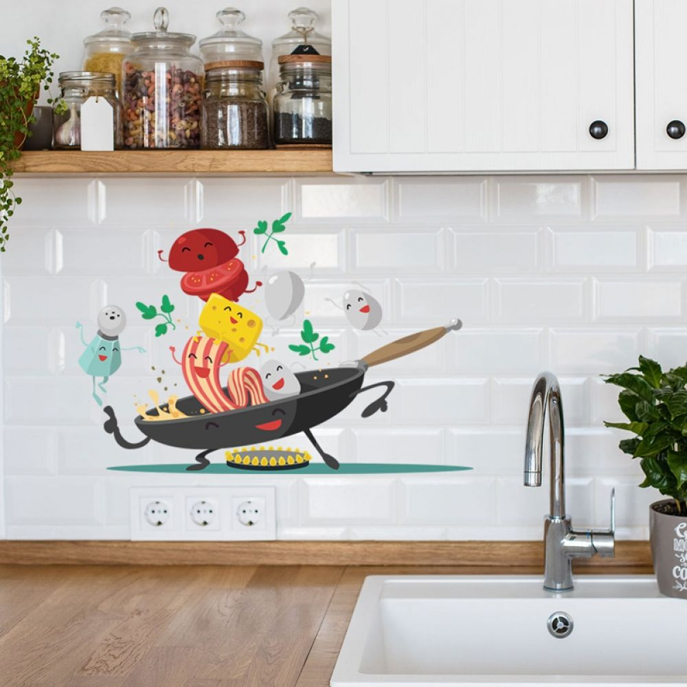 Cartoon Happy Pan Kitchen Wall Sticker For Kitchen Fridge Cupboard Decoration Art Decals Removable Home Stickers Mural Wallpaper In 2020 Wall Murals Diy Kitchen Wall Stickers Pvc Wall