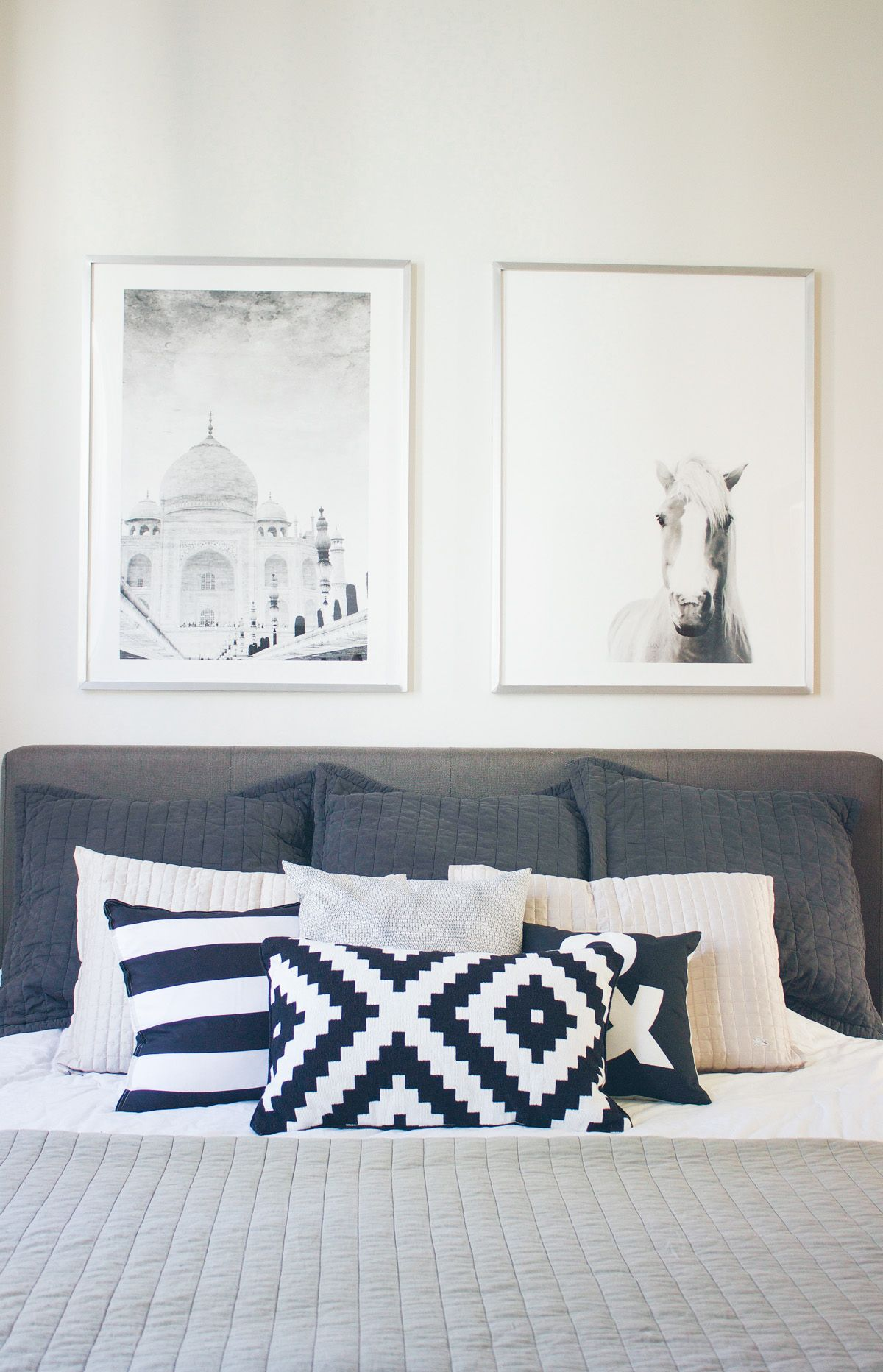 Master bedroom artwork  A Peek Into Our New Place  Bedrooms Pillows and Black