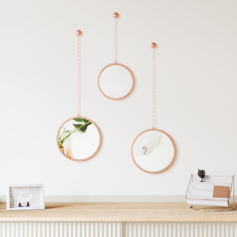 3 Piece Dima Mirror Set In 2021 Boho, How To Hang 3 Small Round Mirrors