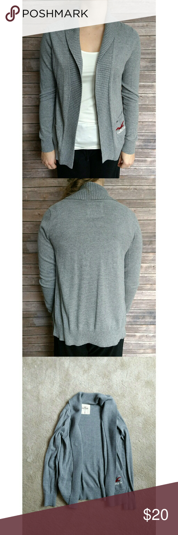🆕 Hollister Cardigan An open cozy cardigan in a light grey color. It had two pockets in the front, one with the Hollister logo. No noticeable stains or damage, just some slight pilling from previous wear.   🚫No Trades 🚫No Holds Hollister Sweaters Cardigans