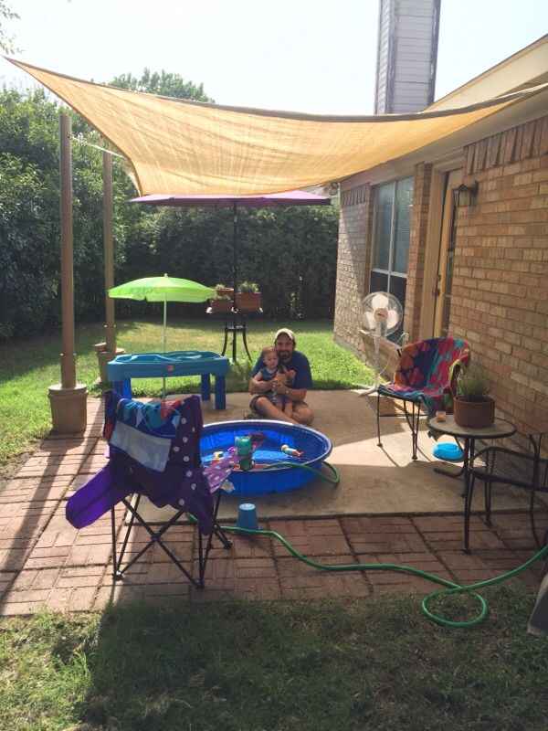 Our Diy Rental House Patio Makeover With Movable 10x13 Shade Sail