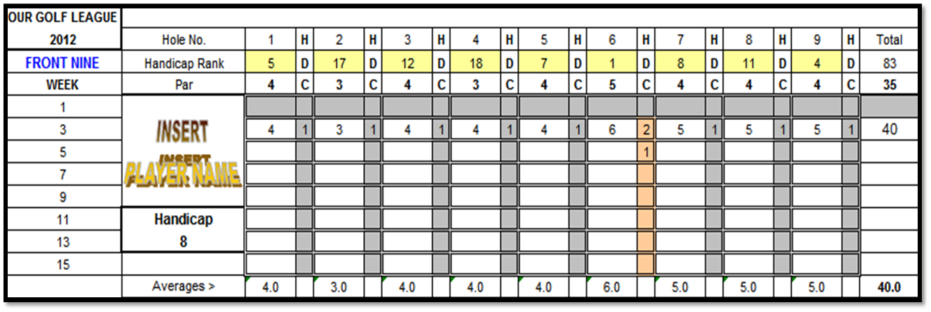 Excel Spreadsheets Help Free Golf Scorecard Spreadsheet Template