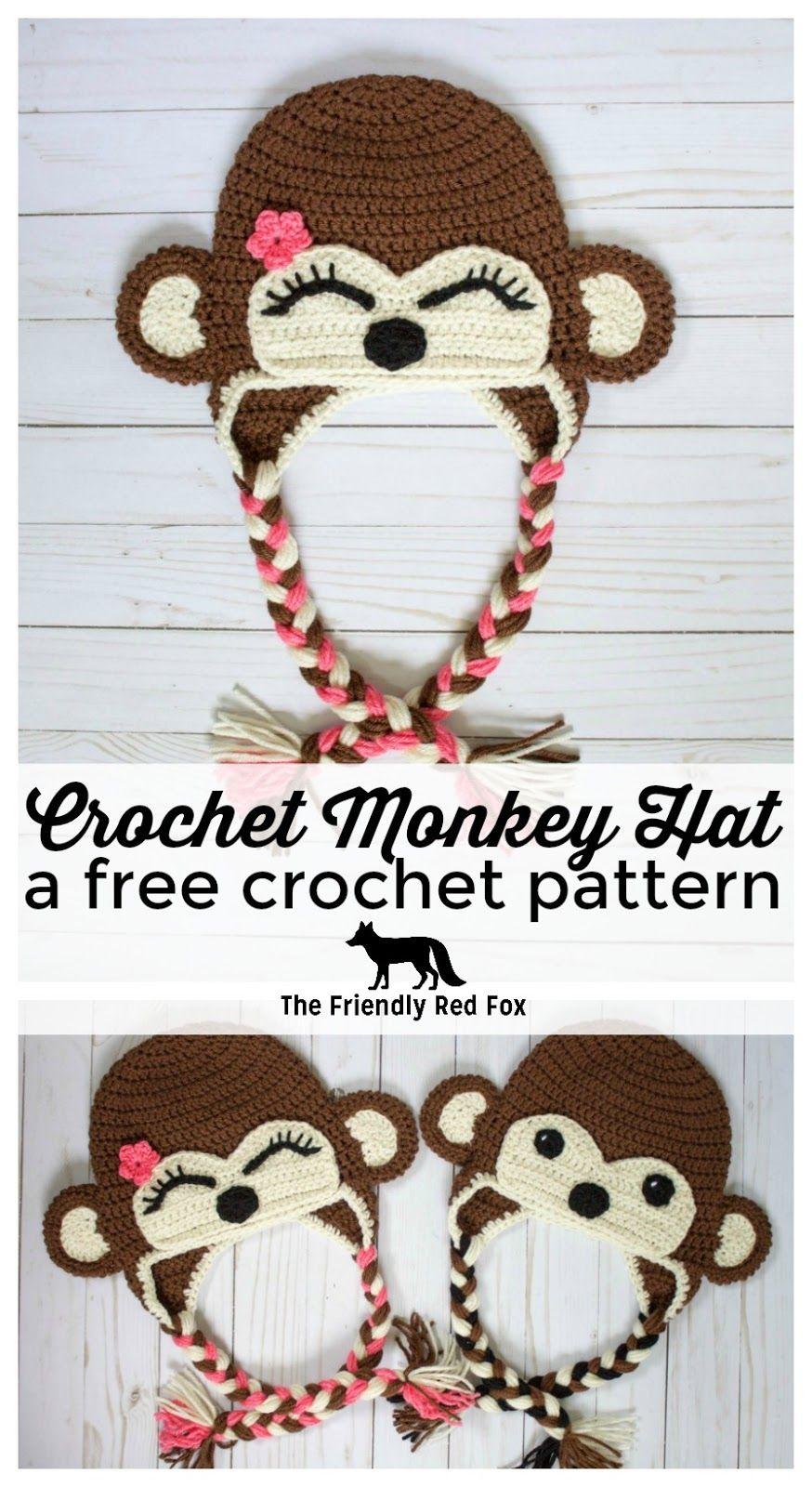Free Crochet Monkey Hat Pattern | Gorros, Gorros crochet y Gorro tejido